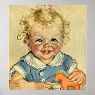 Bebé o chica escandinavo rubio lindo del vintage póster