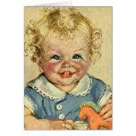 Bebé o chica escandinavo rubio lindo del vintage tarjetón