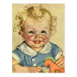 Bebé o chica escandinavo rubio lindo del vintage postal
