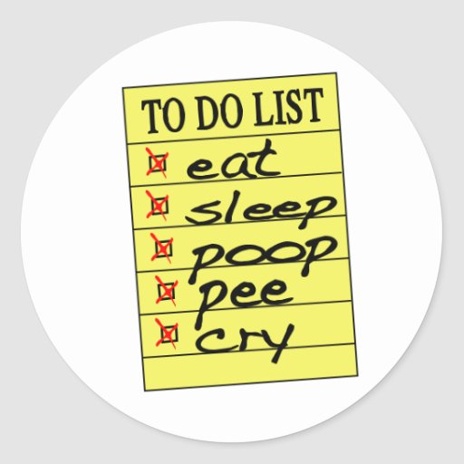Bebé para hacer la lista pegatina redonda