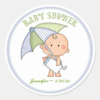 Bebé, paraguas, pegatina de la fiesta de