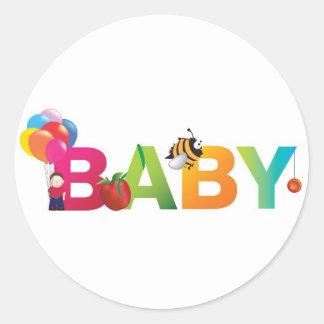 bebé pegatina redonda