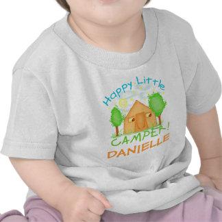 Bebé personalizado/camiseta que acampa del verano
