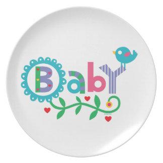 Bebé - placa de la melamina plato de cena