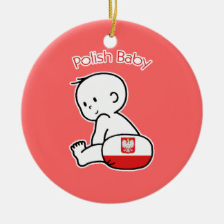 Bebé polaco adorno navideño redondo de cerámica