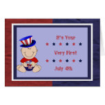 Bebé primer el 4 de julio tarjeta