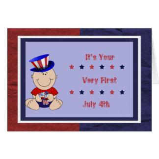 Bebé primer el 4 de julio tarjeta de felicitación