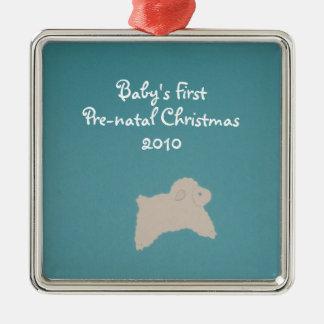 Bebé primer, navidad prenatal, 2010 adorno cuadrado plateado