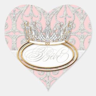 Bébé Princess Crown, Girl Baby Shower Sticker Seal