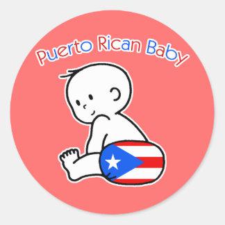 Bebé puertorriqueño pegatina redonda