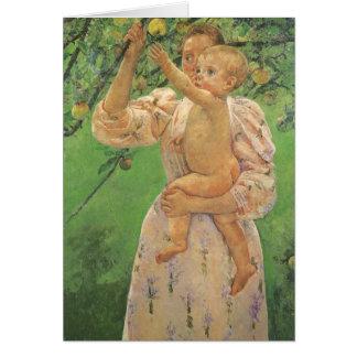 Bebé que alcanza para Apple de Mary Cassatt Tarjeta De Felicitación