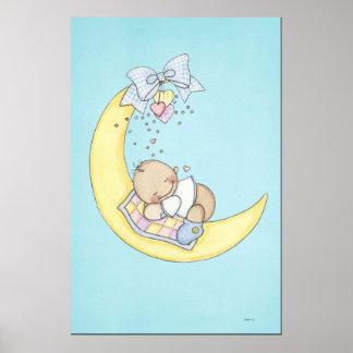 Bebé que duerme en la luna póster