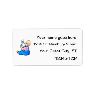 bebé que sostiene el conejito sitting.png etiquetas de dirección