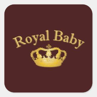 Bebé real con la corona de oro pegatinas cuadradases