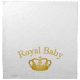 Bebé real con la corona de oro servilletas
