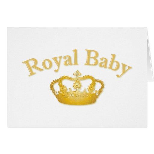 Bebé real con la corona de oro tarjetón