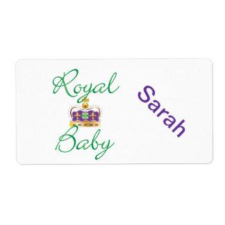 Bebé real con púrpura y la corona del oro etiquetas de envío