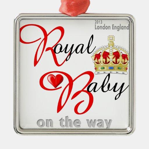 Bebé real de Guillermo y de Kate en la manera Adorno Cuadrado Plateado