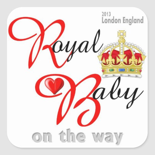 Bebé real de Guillermo y de Kate en la manera Calcomanía Cuadradas Personalizada