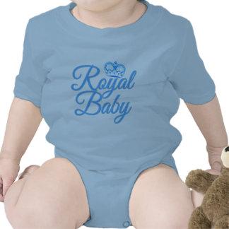 Bebé real en azul con la corona traje de bebé