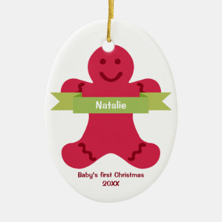 Bebé rojo del nombre de la bandera del verde del adorno navideño ovalado de cerámica