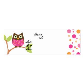 Bebé rosado brillante del búho plantillas de tarjeta de negocio