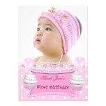 Bebé rosado de las magdalenas del primer chica del anuncios personalizados