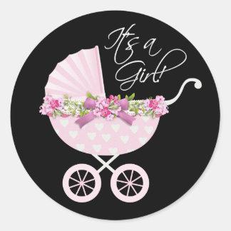 Bebé rosado del carro pegatina redonda