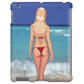 Bebé rubio 2 de la playa del bikini funda para iPad