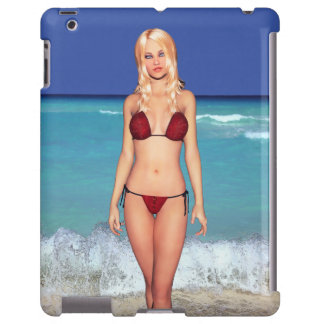 Bebé rubio de la playa del bikini funda para iPad