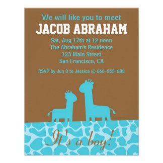 Bebé - siluetas y modelo azules de la jirafa invitacion personal