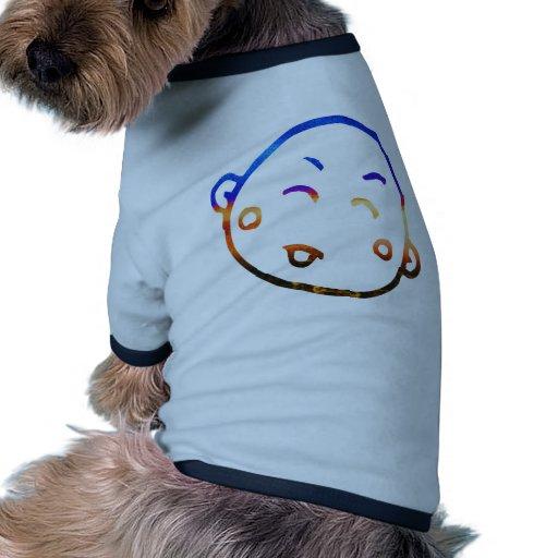 Bebé sonriente lindo 6 camiseta con mangas para perro