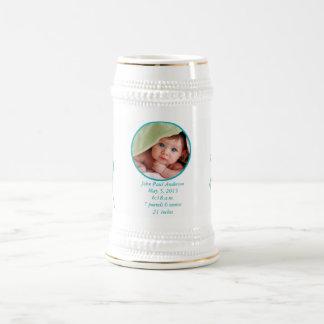 Bebé Stein con el Stats importante del nacimiento Jarra De Cerveza