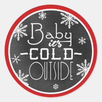 Bebé su pizarra blanca de los copos de nieve del pegatina redonda
