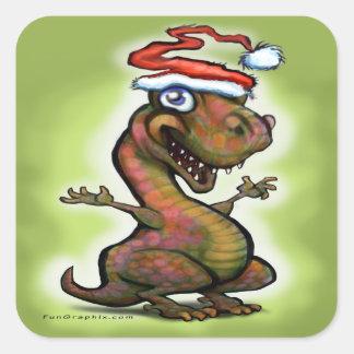 Bebé T-Rex del navidad Pegatina Cuadrada