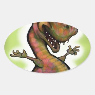 Bebé T-Rex del navidad Pegatina Ovalada