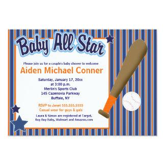 Bebé todo el béisbol de las estrellas e invitación invitación 12,7 x 17,8 cm