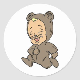 Bebé tonto del oso pegatinas redondas