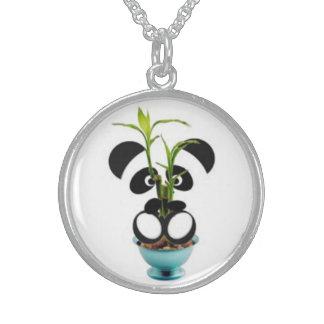 Bebé y bambú de la panda collar de plata de ley