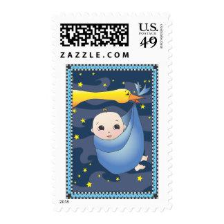 Bebé y cigüeña - azul del arte popular de la sellos postales