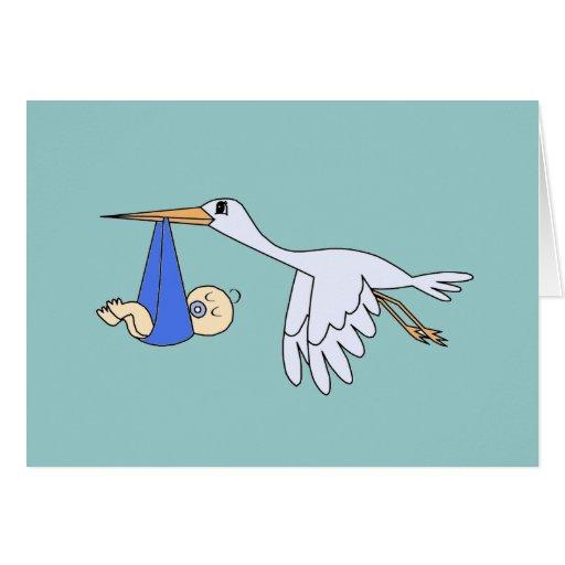 Bebé y cigüeña - azul felicitacion