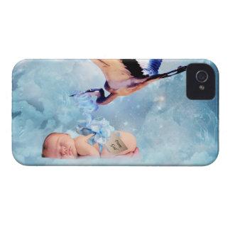 Bebé y cigüeña de la fantasía iPhone 4 cárcasa