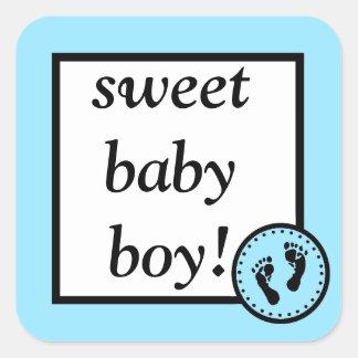 Bebé y Huella-Azul dulces Pegatina Cuadrada