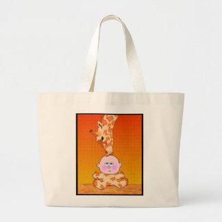 Bebé y jirafa bolsa tela grande