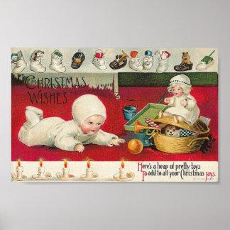Bebé y juguetes de los deseos del navidad póster