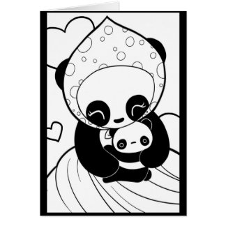 Bebé y mamá Card de la panda Tarjeta De Felicitación