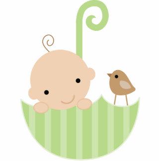 Bebé y pájaro en primero de la torta del paraguas fotoescultura vertical