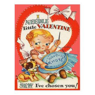 Bebé y perrito del vintage que hacen a la tarjeta  tarjeta postal