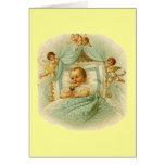 Bebé y querubes del vintage felicitacion