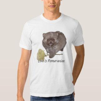 Bebé Zeus de Pomeranian con un tronco largo blanco Playera